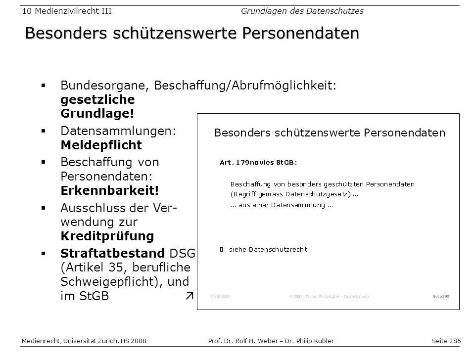 Seite 286 Medienrecht, Universität Zürich, HS 2008Prof.