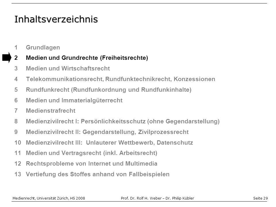 Seite 29 Medienrecht, Universität Zürich, HS 2008Prof.