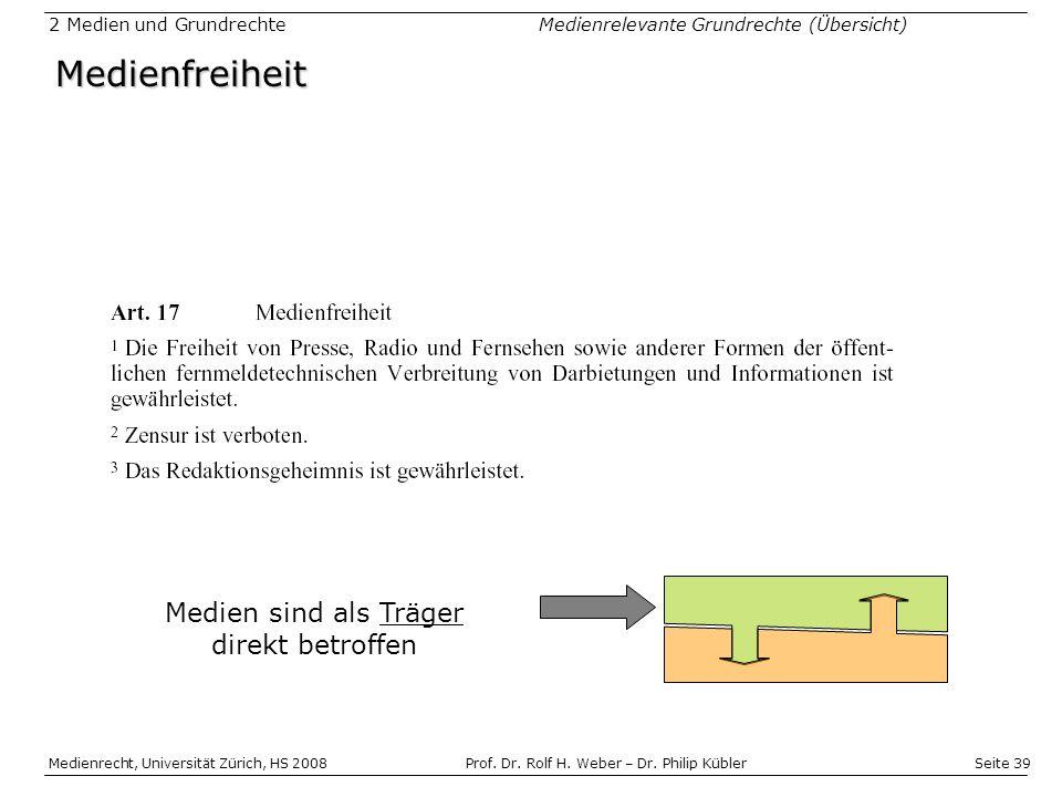 Seite 39 Medienrecht, Universität Zürich, HS 2008Prof.