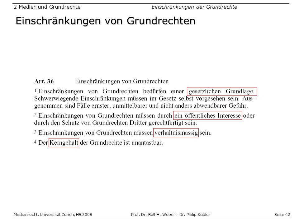 Seite 42 Medienrecht, Universität Zürich, HS 2008Prof.