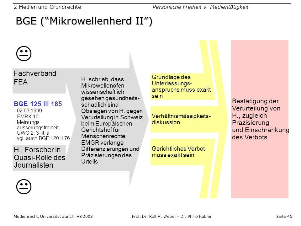 Seite 46 Medienrecht, Universität Zürich, HS 2008Prof.