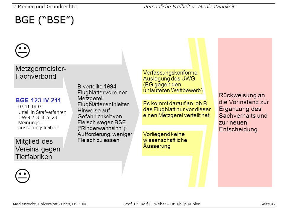 Seite 47 Medienrecht, Universität Zürich, HS 2008Prof.