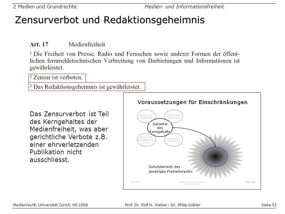 Seite 52 Medienrecht, Universität Zürich, HS 2008Prof.