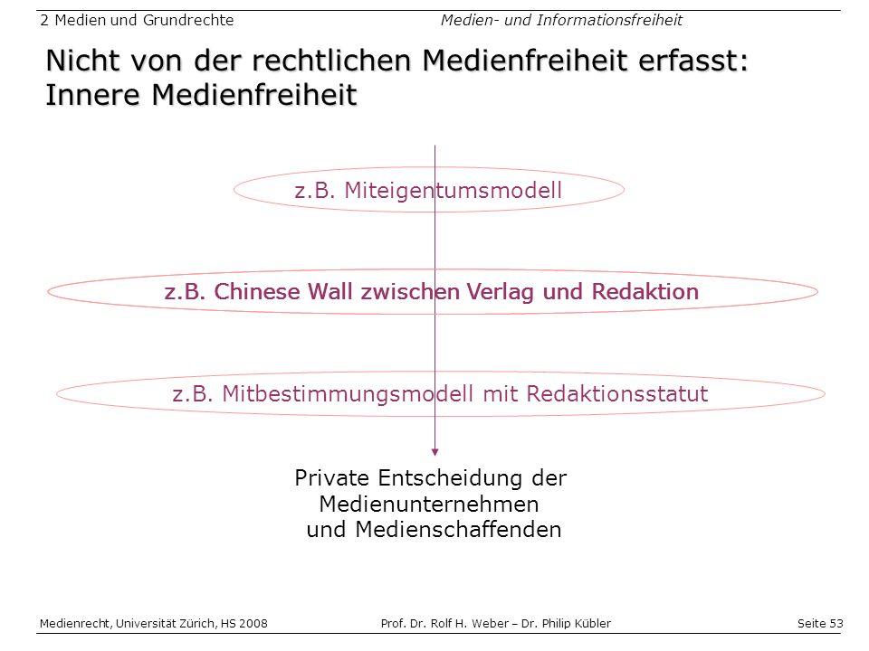 Seite 53 Medienrecht, Universität Zürich, HS 2008Prof.