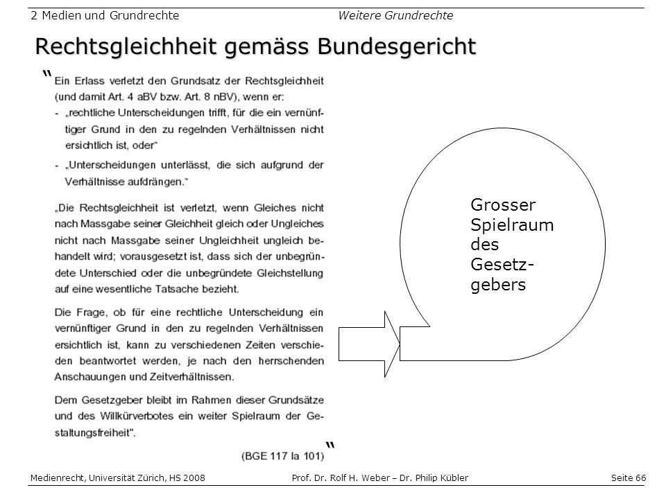 Seite 66 Medienrecht, Universität Zürich, HS 2008Prof.