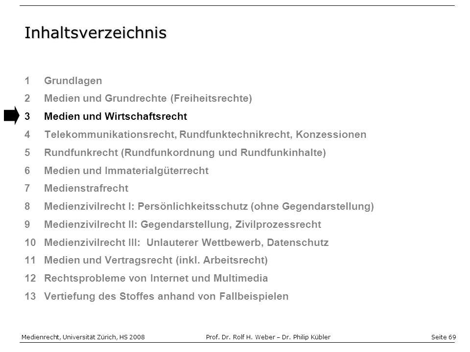 Seite 69 Medienrecht, Universität Zürich, HS 2008Prof.