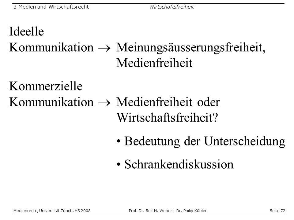 Seite 72 Medienrecht, Universität Zürich, HS 2008Prof.