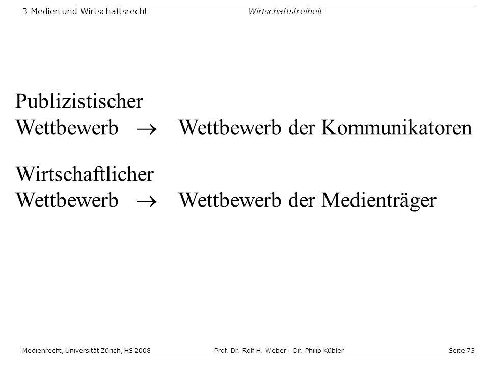 Seite 73 Medienrecht, Universität Zürich, HS 2008Prof.