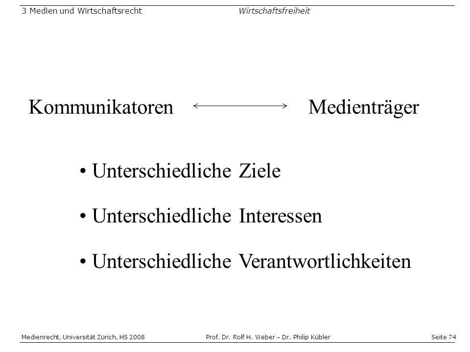 Seite 74 Medienrecht, Universität Zürich, HS 2008Prof.