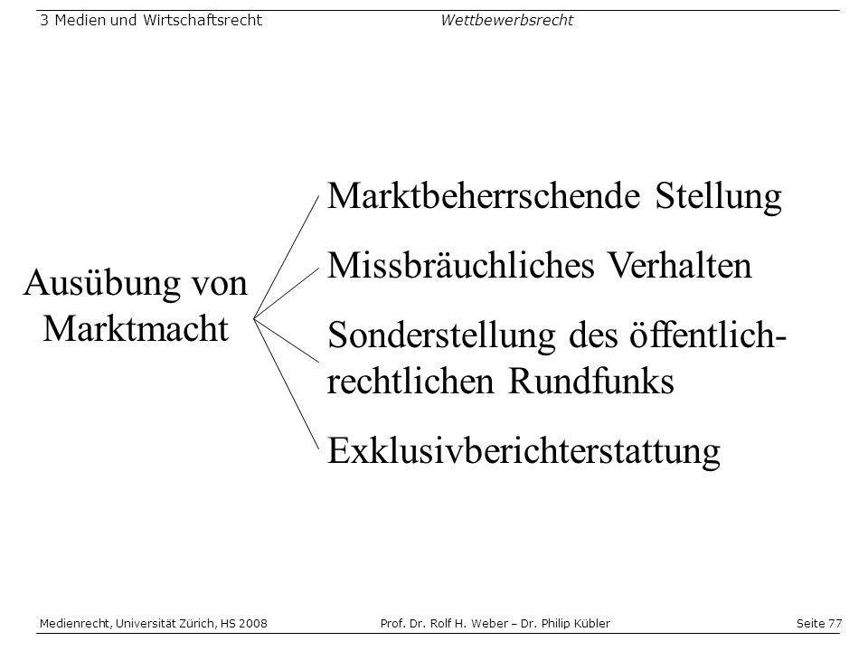 Seite 77 Medienrecht, Universität Zürich, HS 2008Prof.