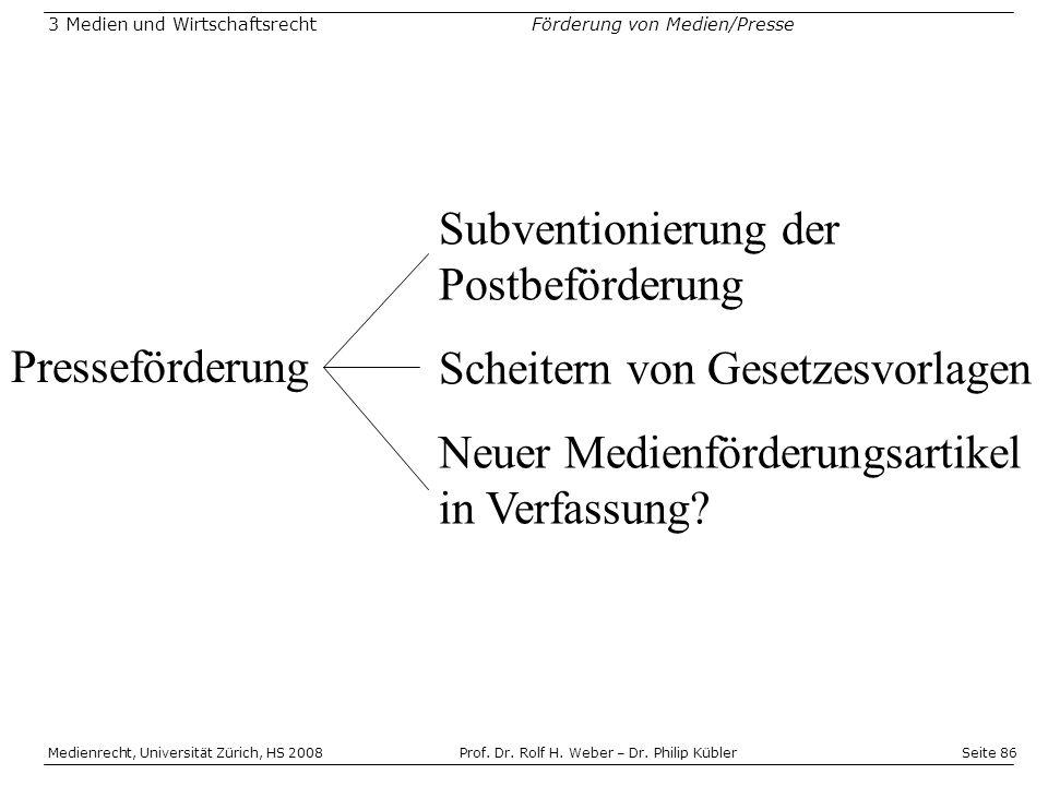 Seite 86 Medienrecht, Universität Zürich, HS 2008Prof.