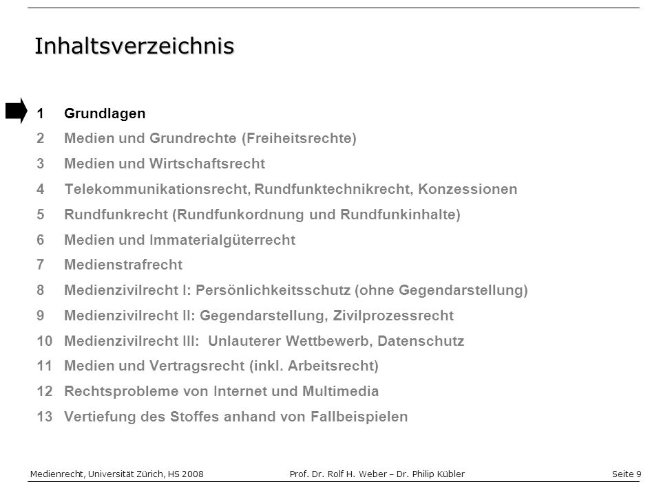 Seite 9 Medienrecht, Universität Zürich, HS 2008Prof.