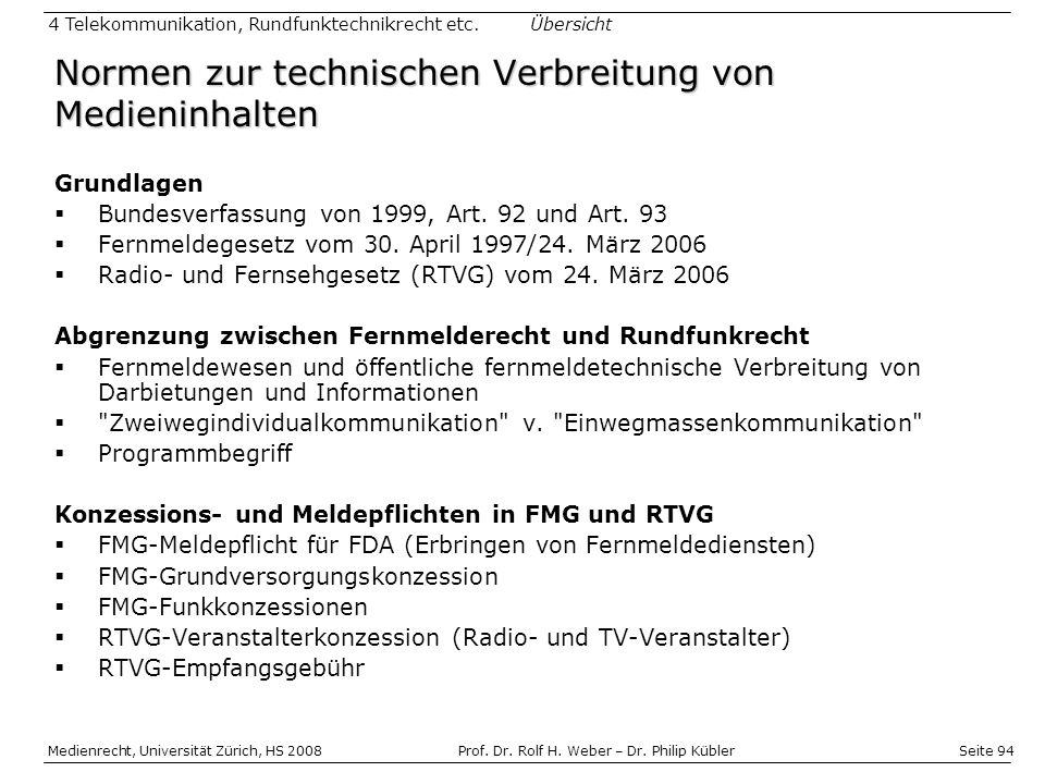 Seite 94 Medienrecht, Universität Zürich, HS 2008Prof.