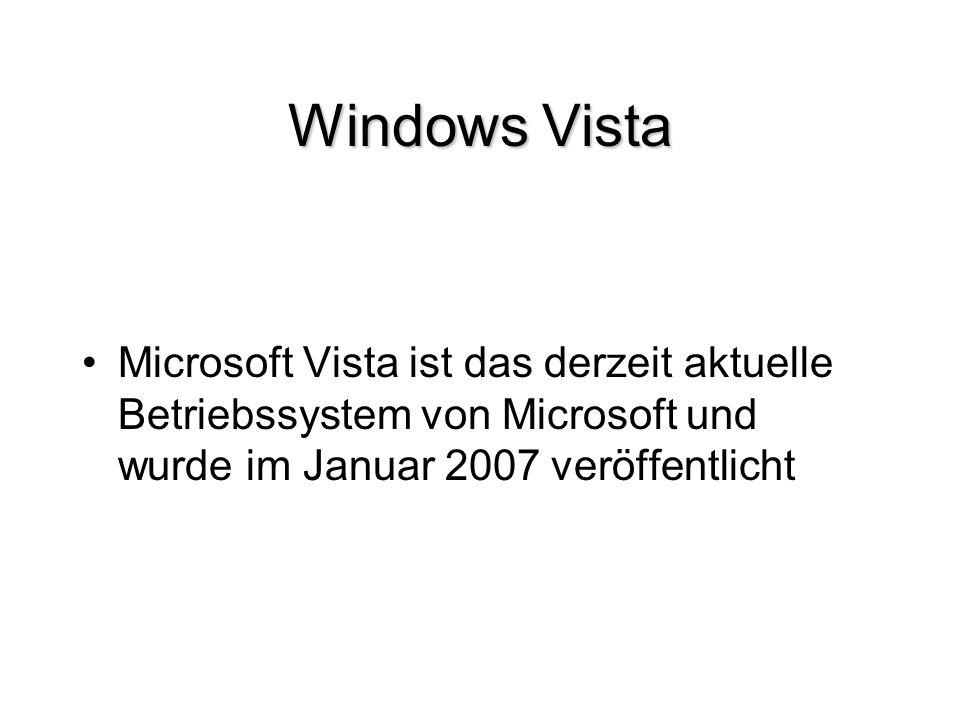Windows Vista Microsoft Vista ist das derzeit aktuelle Betriebssystem von Microsoft und wurde im Januar 2007 veröffentlicht