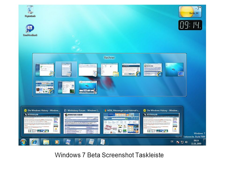 Windows 7 Beta Screenshot Taskleiste