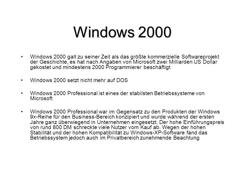 Windows 2000 Windows 2000 galt zu seiner Zeit als das größte kommerzielle Softwareprojekt der Geschichte, es hat nach Angaben von Microsoft zwei Milli