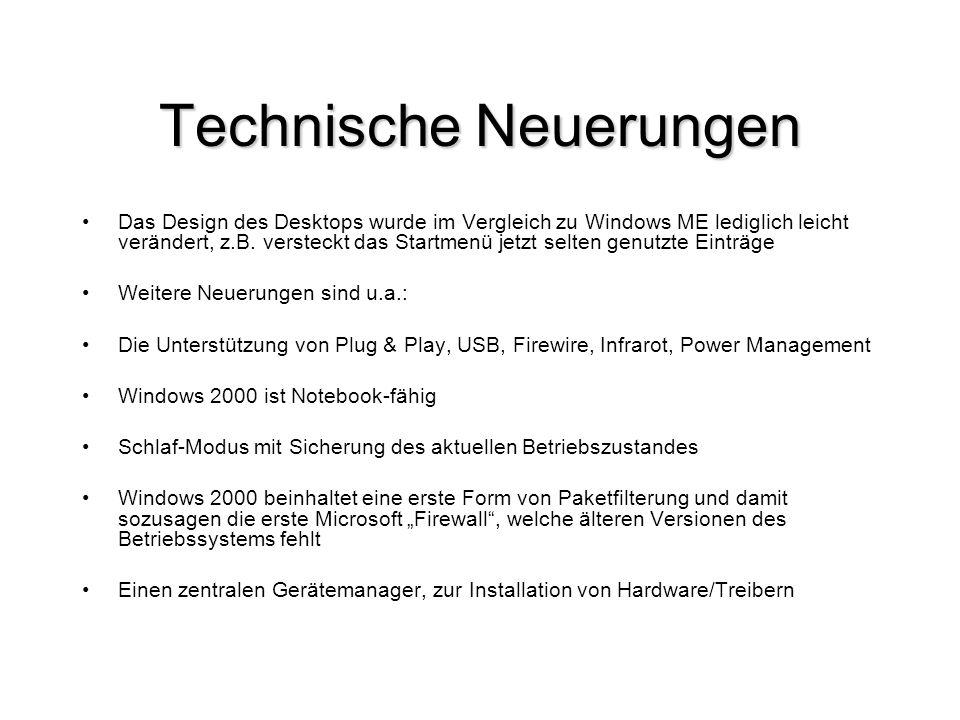 Technische Neuerungen Das Design des Desktops wurde im Vergleich zu Windows ME lediglich leicht verändert, z.B. versteckt das Startmenü jetzt selten g