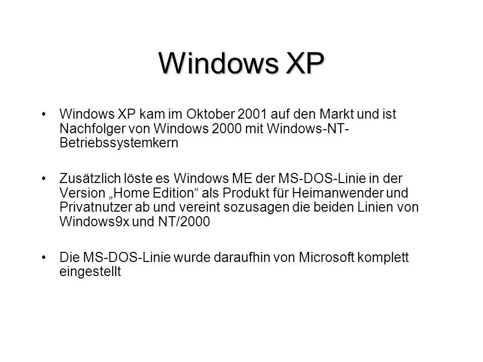 Technische Neuerungen Ein erweitertes Startmenü Systemwiederherstellung, die es zwar schon bei Windows ME, nicht jedoch bei Windows 2000 gab Kompatibilitätsoptionen für Anwendungen, die für ältere Windowsversionen geschrieben wurden Musikdateien werden besser unterstützt und die Unterstützung von digitaler Fotografie erweitert schneller Benutzerwechsel – erlaubt, dass mehrere Benutzer gleichzeitig angemeldet sind und zwischen ihnen gewechselt werden kann Windows Firewall wurde stark erweitert und zum ersten Mal vollständig in das Betriebssystem integriert Einen größeren Einsatz von Windows-Assistenten beim Systemstart wurde die Benutzerfreundlichkeit verbessert, die Auswahl des Benutzers und die evtl.