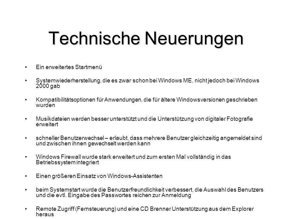Technische Neuerungen Ein erweitertes Startmenü Systemwiederherstellung, die es zwar schon bei Windows ME, nicht jedoch bei Windows 2000 gab Kompatibi