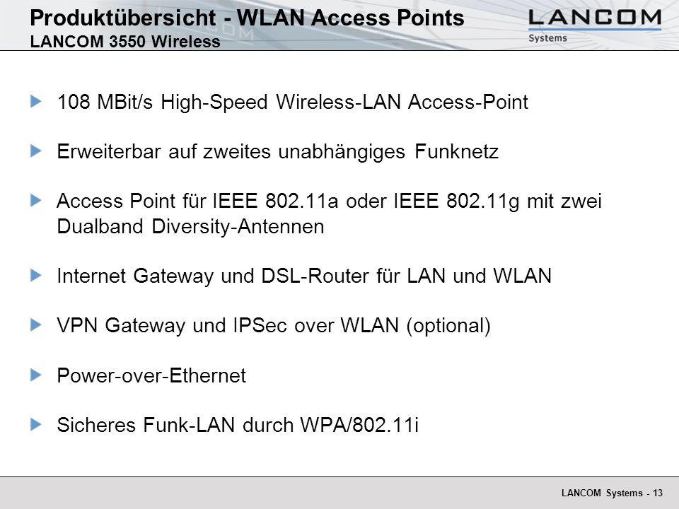 LANCOM Systems - 13 Produktübersicht - WLAN Access Points LANCOM 3550 Wireless 108 MBit/s High-Speed Wireless-LAN Access-Point Erweiterbar auf zweites