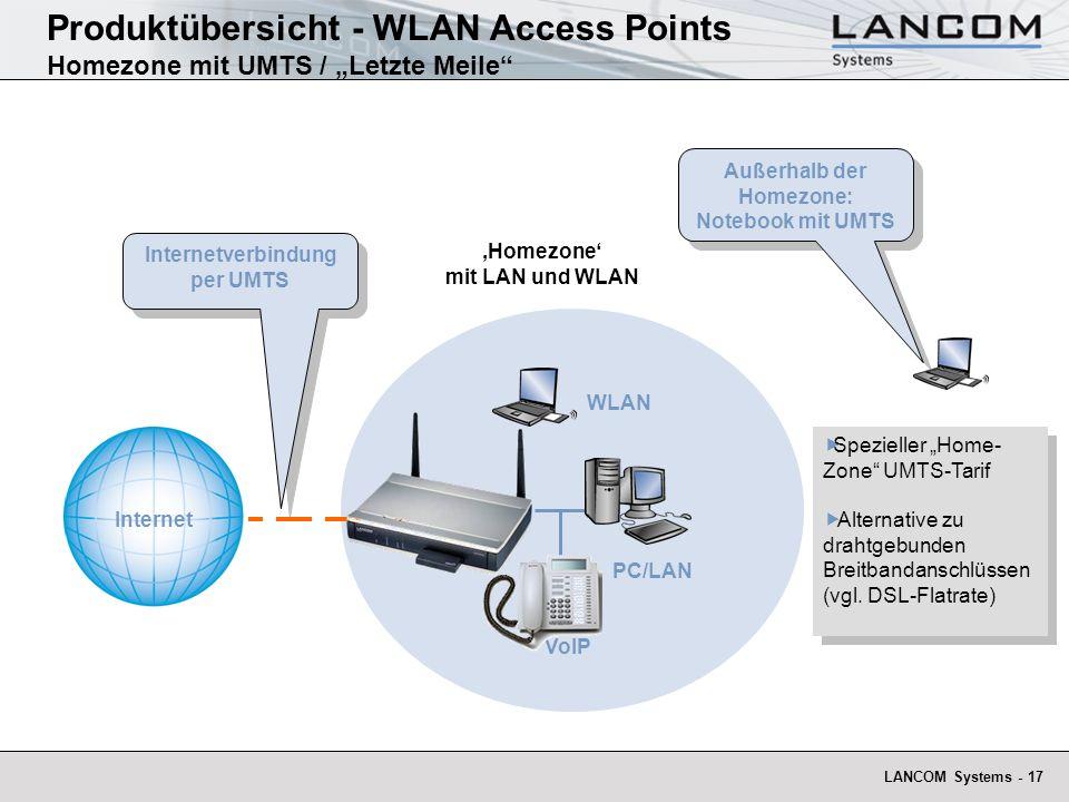 LANCOM Systems - 17 Homezone mit LAN und WLAN Außerhalb der Homezone: Notebook mit UMTS Produktübersicht - WLAN Access Points Homezone mit UMTS / Letz