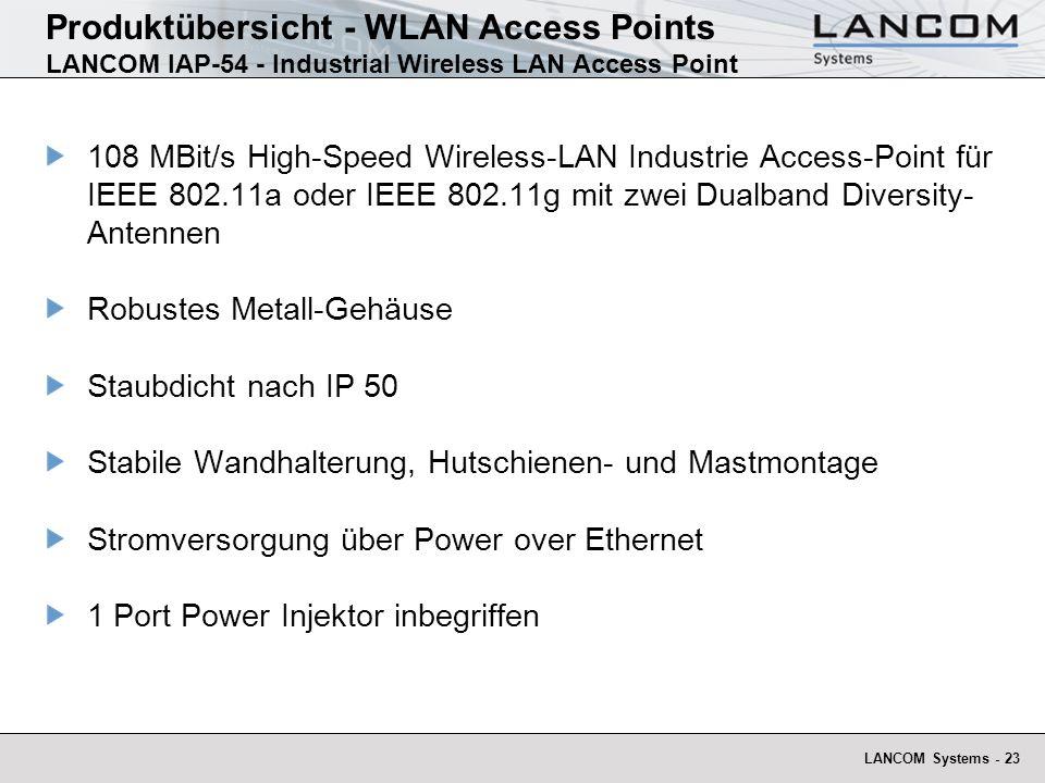 LANCOM Systems - 23 Produktübersicht - WLAN Access Points LANCOM IAP-54 - Industrial Wireless LAN Access Point 108 MBit/s High-Speed Wireless-LAN Indu