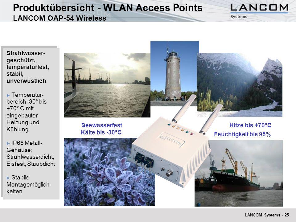 LANCOM Systems - 25 Produktübersicht - WLAN Access Points LANCOM OAP-54 Wireless Strahlwasser- geschützt, temperaturfest, stabil, unverwüstlich Temper