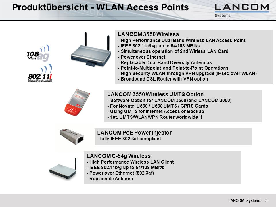 LANCOM Systems - 3 Produktübersicht - WLAN Access Points LANCOM C-54g Wireless - High Performance Wireless LAN Client - IEEE 802.11b/g up to 54/108 MB