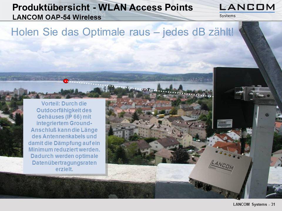 LANCOM Systems - 31 Holen Sie das Optimale raus – jedes dB zählt! Vorteil: Durch die Outdoorfähigkeit des Gehäuses (IP 66) mit integriertem Ground- An