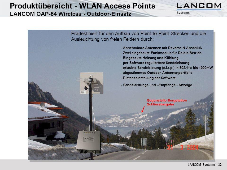 LANCOM Systems - 32 Produktübersicht - WLAN Access Points LANCOM OAP-54 Wireless - Outdoor-Einsatz Prädestiniert für den Aufbau von Point-to-Point-Str
