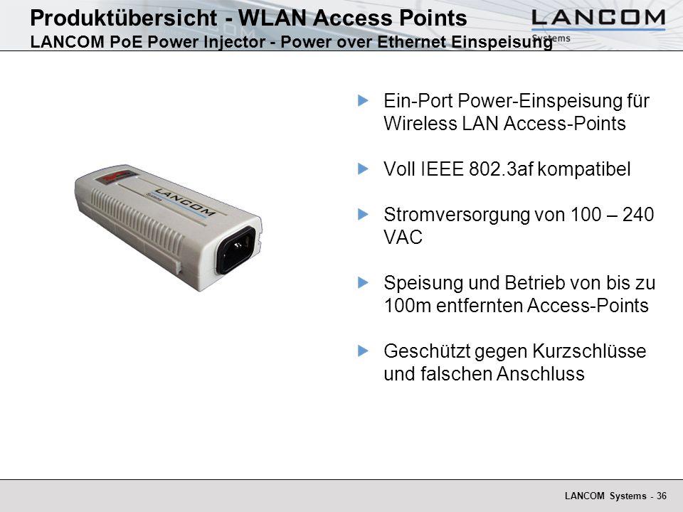 LANCOM Systems - 36 Produktübersicht - WLAN Access Points LANCOM PoE Power Injector - Power over Ethernet Einspeisung Ein-Port Power-Einspeisung für W