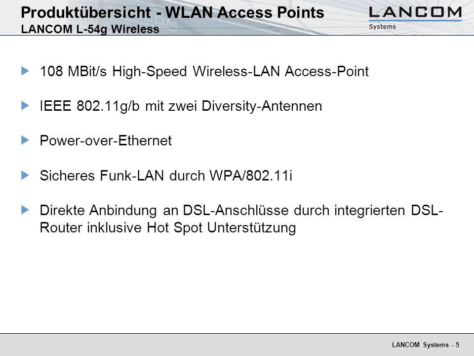 LANCOM Systems - 5 Produktübersicht - WLAN Access Points LANCOM L-54g Wireless 108 MBit/s High-Speed Wireless-LAN Access-Point IEEE 802.11g/b mit zwei