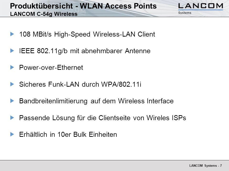 LANCOM Systems - 7 Produktübersicht - WLAN Access Points LANCOM C-54g Wireless 108 MBit/s High-Speed Wireless-LAN Client IEEE 802.11g/b mit abnehmbare