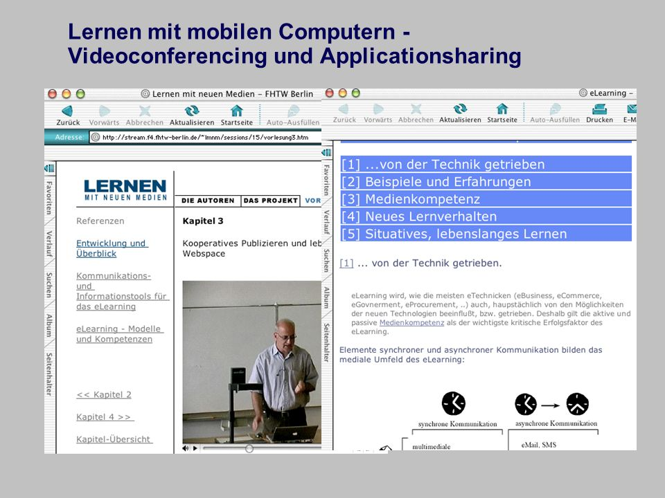 Lernen mit mobilen Computern - Videoconferencing und Applicationsharing