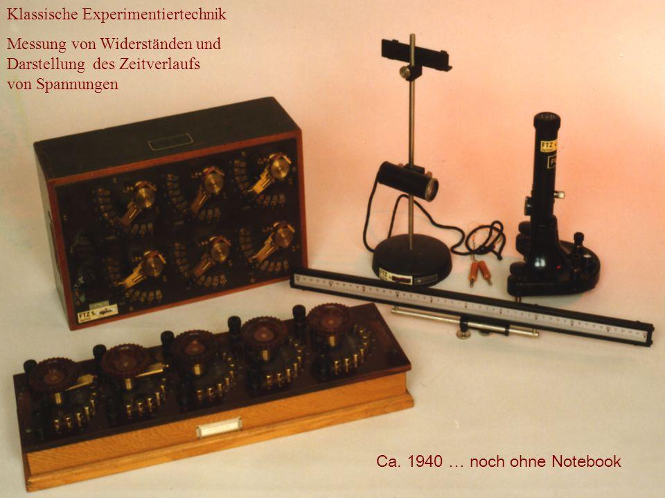 Klassische Experimentiertechnik Messung von Widerständen und Darstellung des Zeitverlaufs von Spannungen Ca. 1940 … noch ohne Notebook