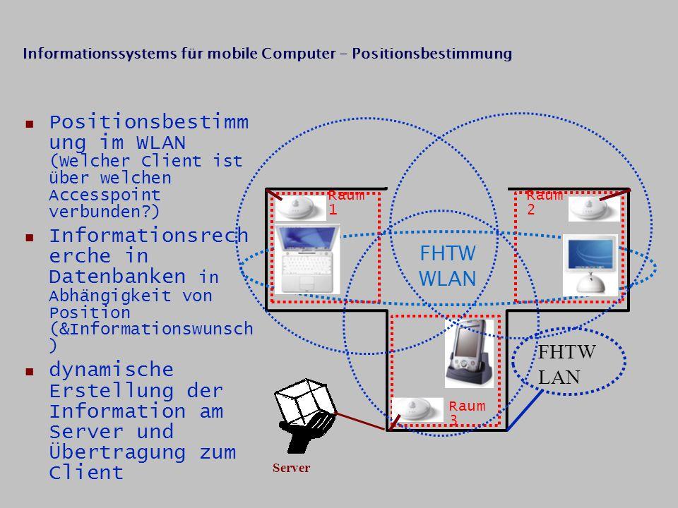 FHTW WLAN Raum 1 Raum 2 Raum 3 FHTW LAN Server Positionsbestimm ung im WLAN (Welcher Client ist über welchen Accesspoint verbunden?) Informationsrech erche in Datenbanken in Abhängigkeit von Position (&Informationswunsch ) dynamische Erstellung der Information am Server und Übertragung zum Client Informationssystems für mobile Computer - Positionsbestimmung