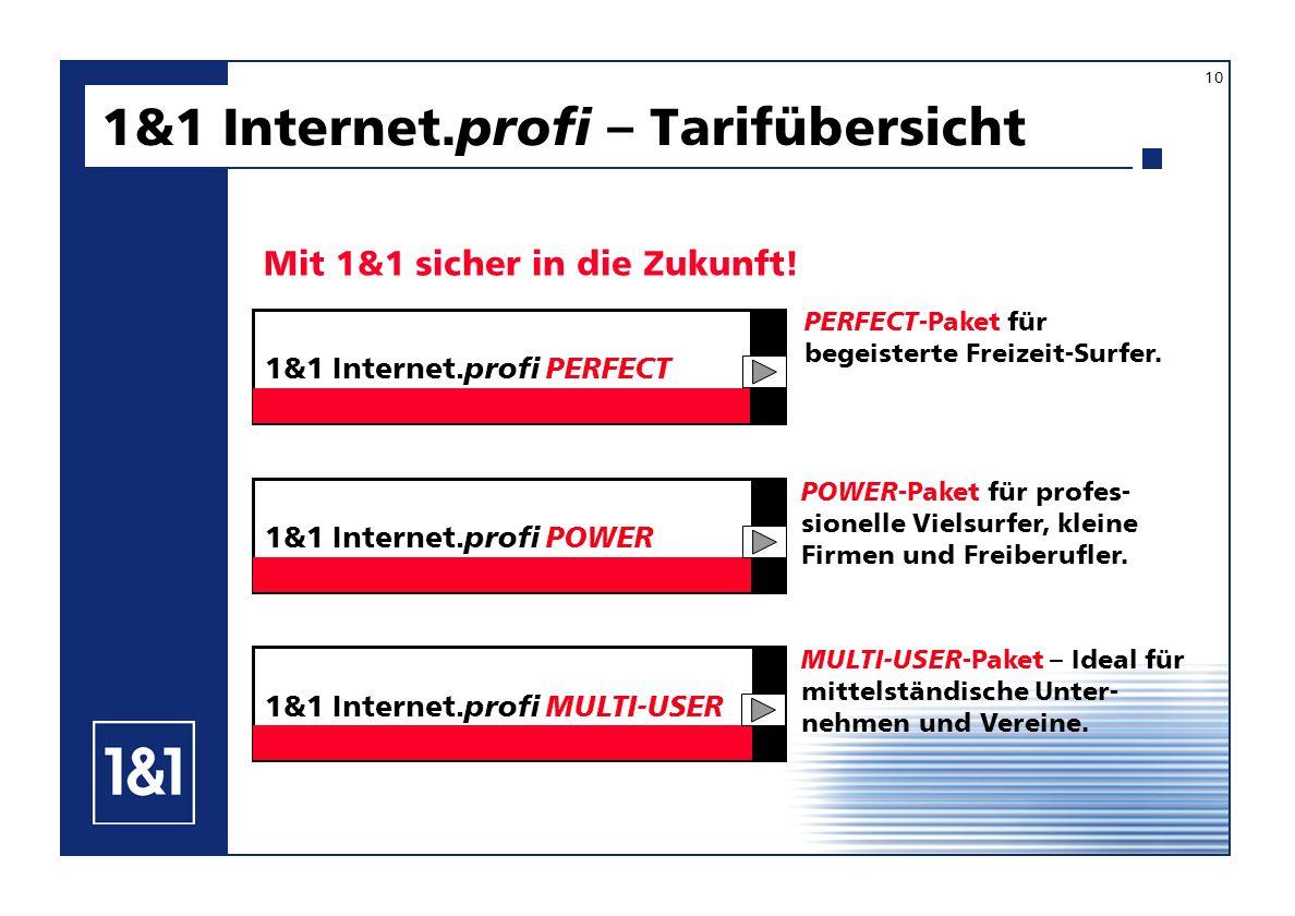 1&1 Internet. profi – Tarifübersicht Mit 1&1 sicher in die Zukunft! 10 MULTI-USER -Paket – Ideal für mittelständische Unter- nehmen und Vereine. PERFE
