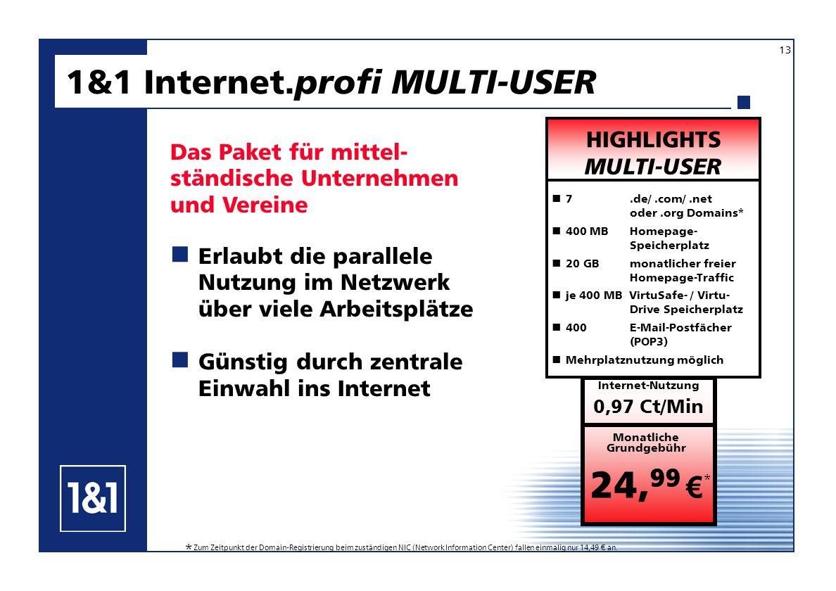 1&1 Internet. profi MULTI-USER Das Paket für mittel- ständische Unternehmen und Vereine Erlaubt die parallele Nutzung im Netzwerk über viele Arbeitspl