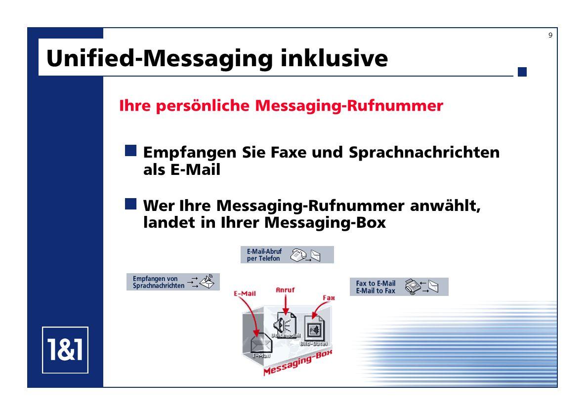 Ihre persönliche Messaging-Rufnummer Unified-Messaging inklusive Empfangen Sie Faxe und Sprachnachrichten als E-Mail Wer Ihre Messaging-Rufnummer anwä