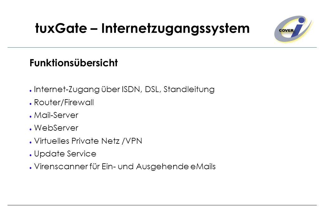 tuxGate – Internetzugangssystem Funktionsübersicht Internet-Zugang über ISDN, DSL, Standleitung Router/Firewall Mail-Server WebServer Virtuelles Priva