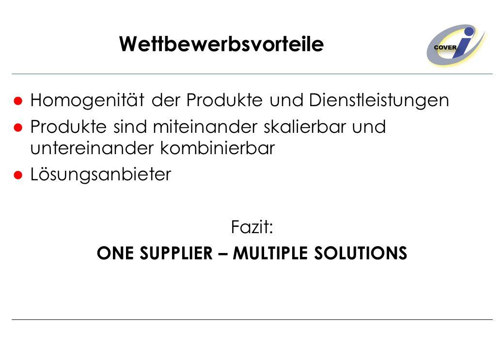 Wettbewerbsvorteile Homogenität der Produkte und Dienstleistungen Produkte sind miteinander skalierbar und untereinander kombinierbar Lösungsanbieter