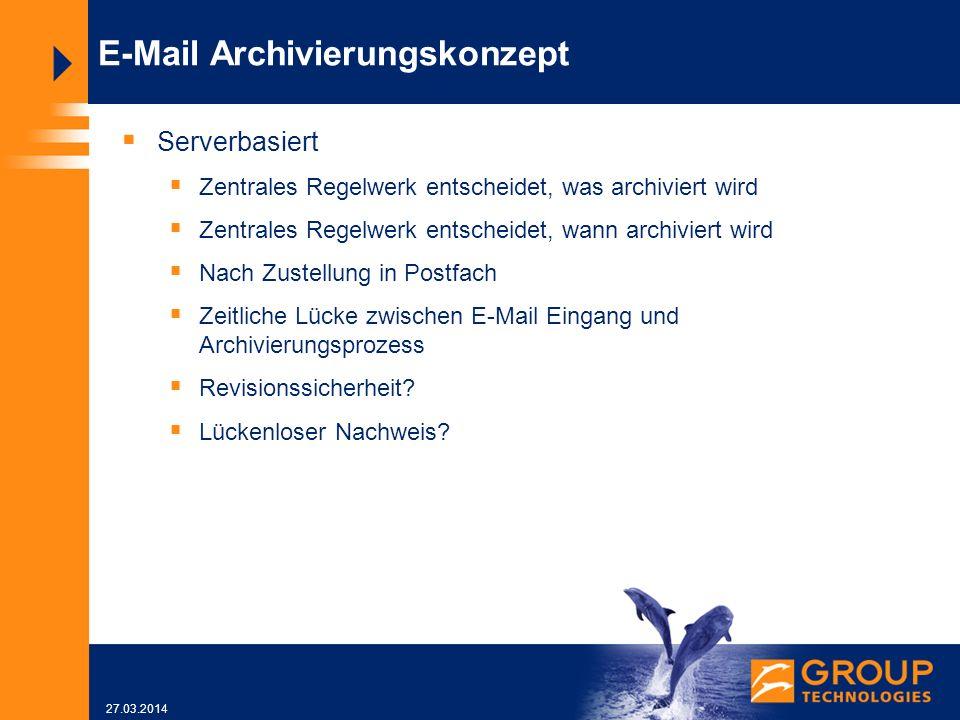 27.03.2014 E-Mail Archivierungskonzept Serverbasiert Zentrales Regelwerk entscheidet, was archiviert wird Zentrales Regelwerk entscheidet, wann archiviert wird Nach Zustellung in Postfach Zeitliche Lücke zwischen E-Mail Eingang und Archivierungsprozess Revisionssicherheit.