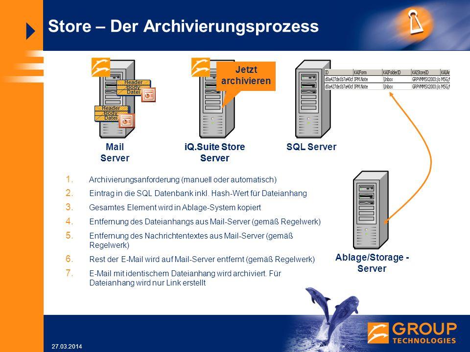 27.03.2014 Mail Server SQL Server Store – Der Archivierungsprozess iQ.Suite Store Server Ablage/Storage - Server iQ.Suite Store Server Jetzt archivieren 1.