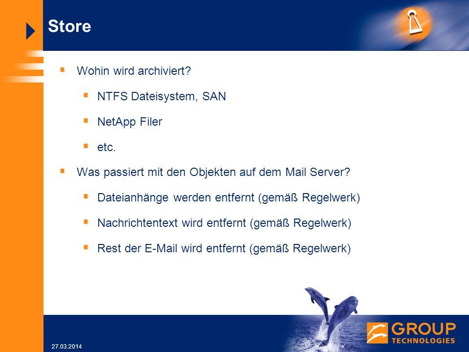 27.03.2014 Store Wohin wird archiviert.NTFS Dateisystem, SAN NetApp Filer etc.