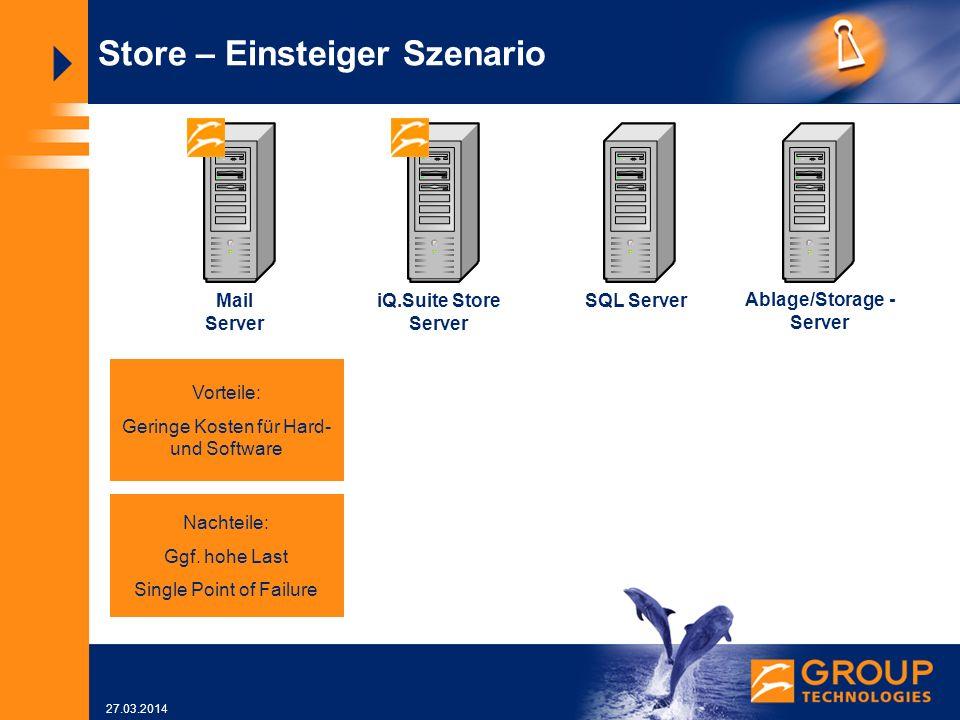 27.03.2014 SQL Server Store – Einsteiger Szenario iQ.Suite Store Server Ablage/Storage - Server Mail Server Vorteile: Geringe Kosten für Hard- und Software Nachteile: Ggf.