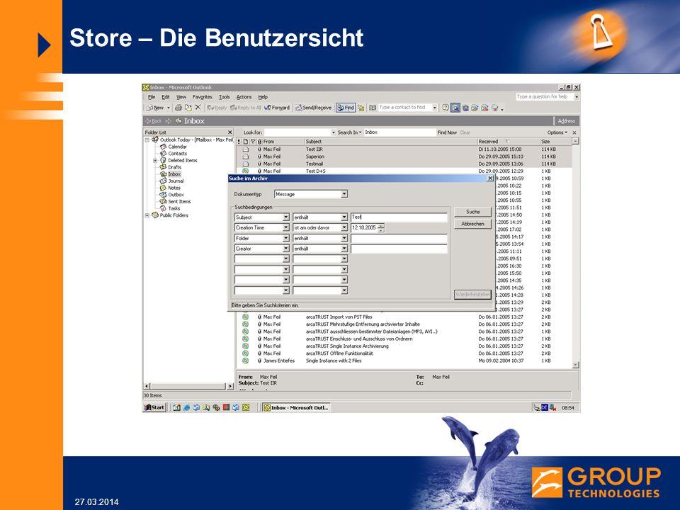 27.03.2014 Store – Die Benutzersicht