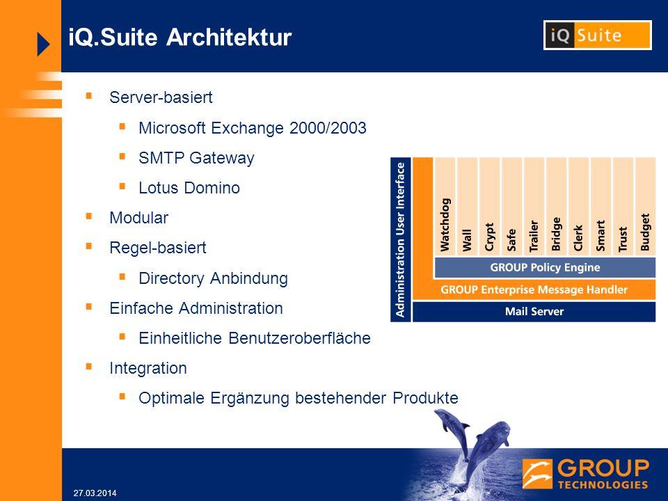 27.03.2014 iQ.Suite Architektur Server-basiert Microsoft Exchange 2000/2003 SMTP Gateway Lotus Domino Modular Regel-basiert Directory Anbindung Einfache Administration Einheitliche Benutzeroberfläche Integration Optimale Ergänzung bestehender Produkte