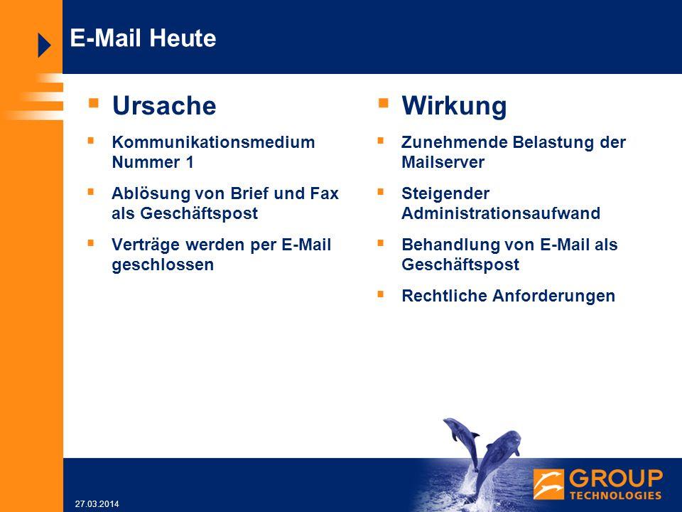 27.03.2014 E-Mail Heute Ursache Kommunikationsmedium Nummer 1 Ablösung von Brief und Fax als Geschäftspost Verträge werden per E-Mail geschlossen Wirkung Zunehmende Belastung der Mailserver Steigender Administrationsaufwand Behandlung von E-Mail als Geschäftspost Rechtliche Anforderungen