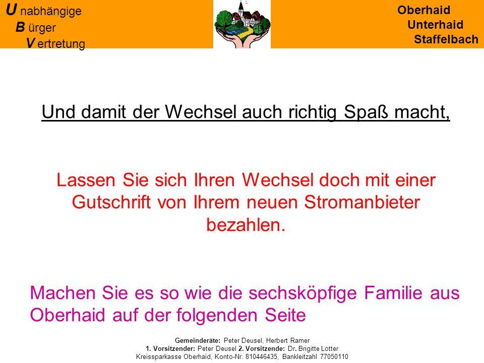 Oberhaid Unterhaid Staffelbach U nabhängige B ürger V ertretung Gemeinderäte: Peter Deusel, Herbert Ramer 1. Vorsitzender: Peter Deusel 2. Vorsitzende