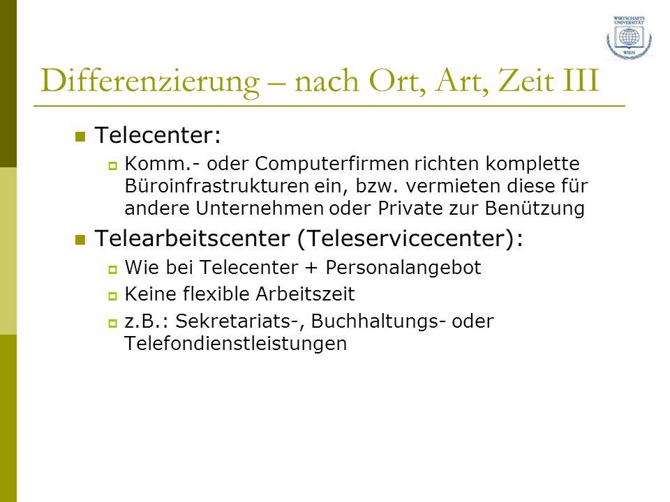 Differenzierung – nach Ort, Art, Zeit III Telecenter: Komm.- oder Computerfirmen richten komplette Büroinfrastrukturen ein, bzw. vermieten diese für a